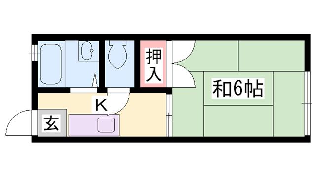 物件番号: 1119478839  姫路市東今宿3丁目 1K ハイツ 間取り図