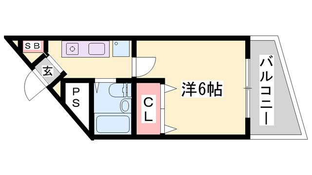 物件番号: 1119478851  姫路市山吹2丁目 1K マンション 間取り図