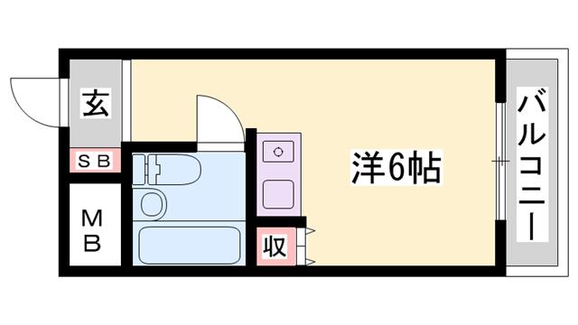 物件番号: 1119478887  姫路市広畑区東新町1丁目 1R マンション 間取り図