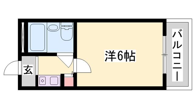 物件番号: 1119478891  姫路市西中島 1R マンション 間取り図