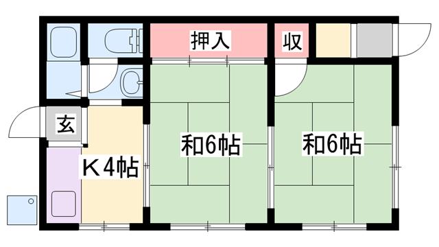 物件番号: 1119479025  姫路市網干区浜田 2DK 貸家 間取り図