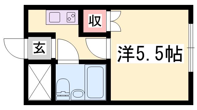 物件番号: 1119479092  姫路市御立東6丁目 1K マンション 間取り図