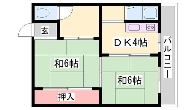 物件番号: 1119479115  姫路市大津区天満 2DK マンション 間取り図