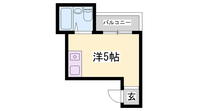 物件番号: 1119479116  姫路市野里慶雲寺前町 1R マンション 間取り図