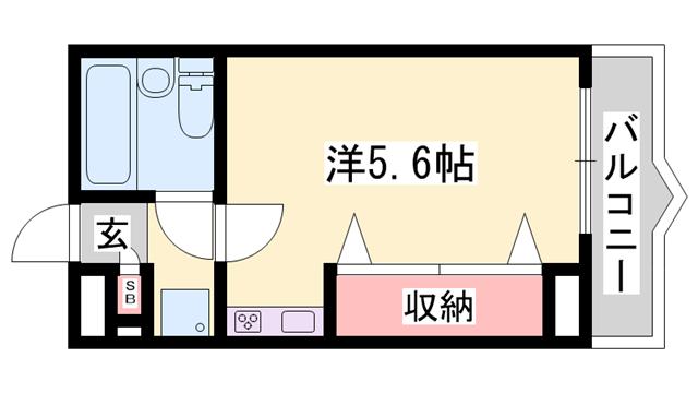 物件番号: 1119479284  姫路市網干区新在家 1R マンション 間取り図