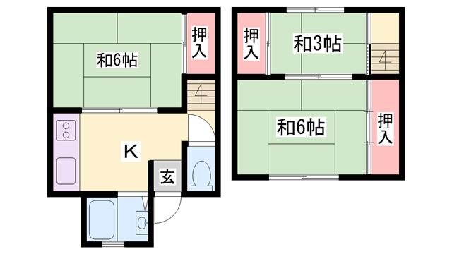 物件番号: 1119479385  姫路市五軒邸4丁目 3K ハイツ 間取り図
