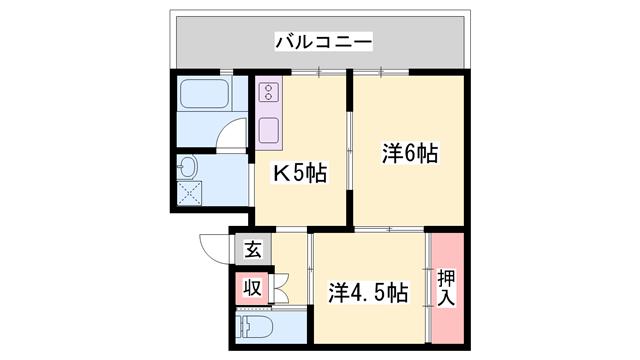 物件番号: 1119479508  神崎郡福崎町馬田 2K マンション 間取り図