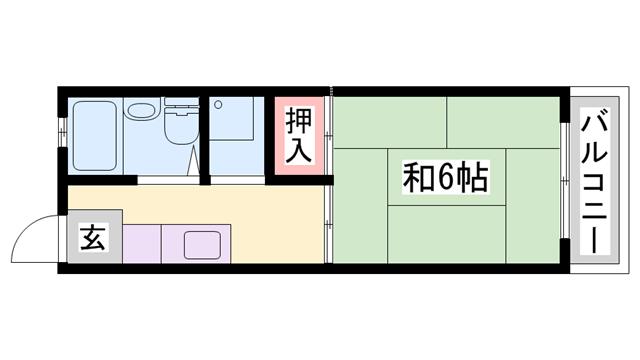 物件番号: 1119479525  姫路市城北新町2丁目 1K ハイツ 間取り図