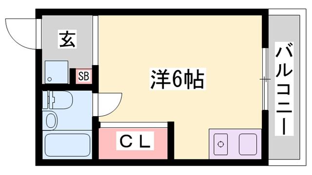 物件番号: 1119479579  姫路市西八代町 1R マンション 間取り図