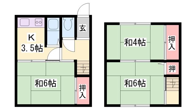 物件番号: 1119479611  姫路市西今宿8丁目 3K 貸家 間取り図