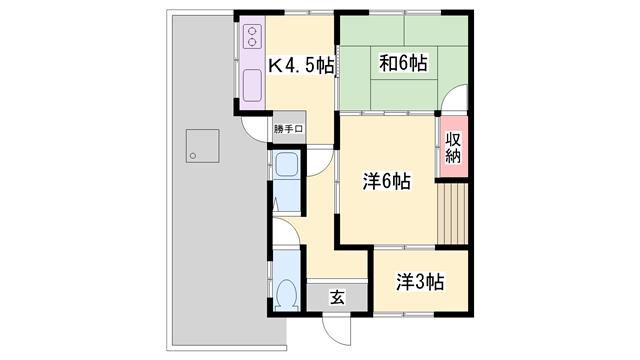 物件番号: 1119479644  姫路市飾西 3DK 貸家 間取り図