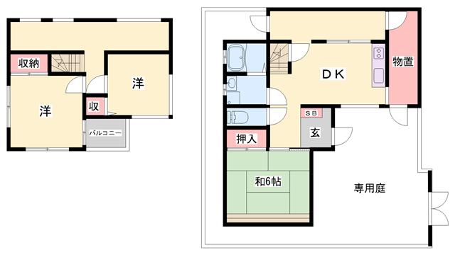 物件番号: 1119479646  姫路市夢前町置本 3DK 貸家 間取り図
