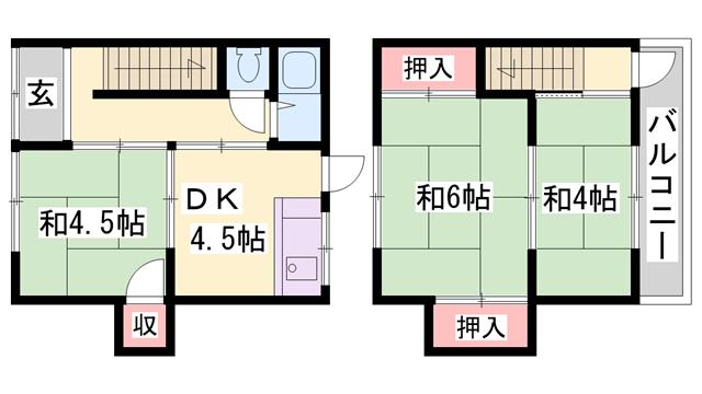 物件番号: 1119479658  姫路市勝原区宮田 3DK 貸家 間取り図