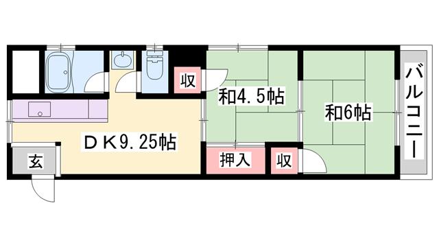 物件番号: 1119479663  姫路市飾磨区構5丁目 2DK ハイツ 間取り図