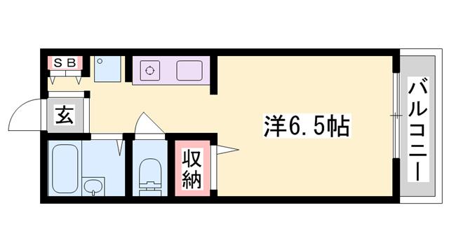 物件番号: 1119479864  姫路市北平野3丁目 1K ハイツ 間取り図