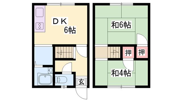物件番号: 1119480021  加古川市加古川町河原 2DK アパート 間取り図