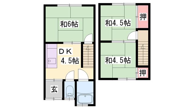 物件番号: 1119480165  加古郡播磨町北野添2丁目 3LDK アパート 間取り図