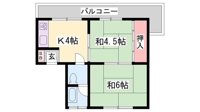 物件番号: 1119480183  加古川市平岡町高畑 2K アパート 間取り図