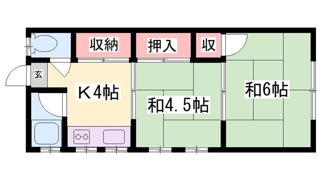 物件番号: 1119480271  加古川市東神吉町升田 2K ハイツ 間取り図