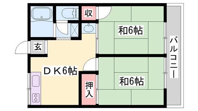 物件番号: 1119480385  加古川市尾上町安田 2DK アパート 間取り図
