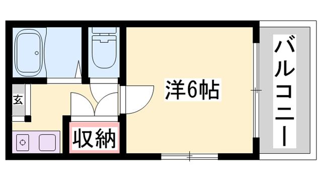 物件番号: 1119480410  姫路市手柄2丁目 1K ハイツ 間取り図