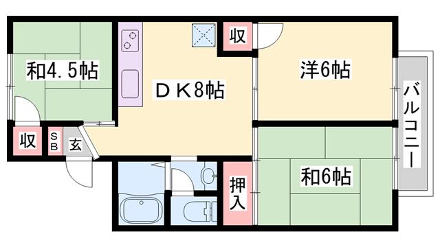 物件番号: 1119480424  姫路市大塩町 3DK ハイツ 間取り図