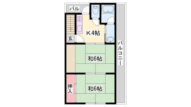 物件番号: 1119480457  姫路市香寺町中寺 2K アパート 間取り図