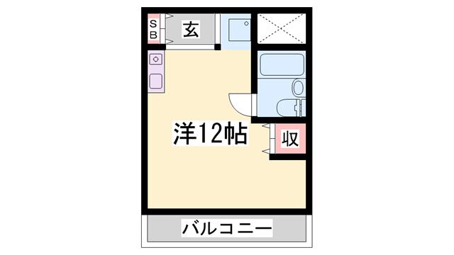 物件番号: 1119480491  姫路市五軒邸4丁目 1R マンション 間取り図