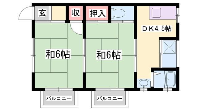 物件番号: 1119480650  姫路市網干区浜田 2DK 貸家 間取り図