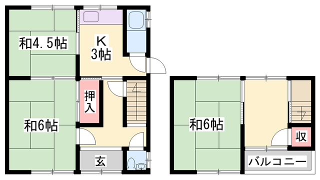 物件番号: 1119480679  姫路市西今宿4丁目 4K 貸家 間取り図
