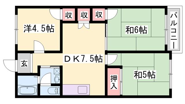 物件番号: 1119480836  姫路市楠町 3DK マンション 間取り図