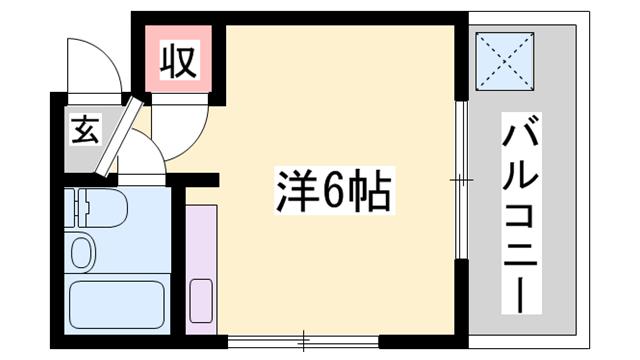 物件番号: 1119480970  姫路市飾磨区英賀春日町2丁目 1R ハイツ 間取り図
