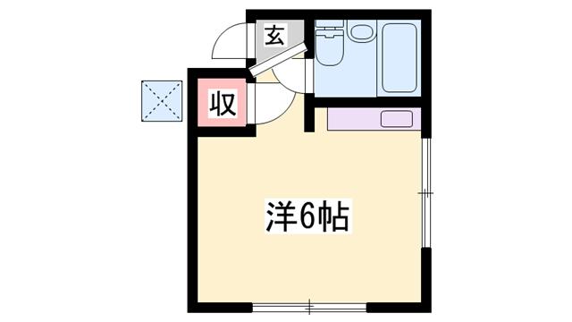 物件番号: 1119480972  姫路市飾磨区英賀春日町2丁目 1R ハイツ 間取り図