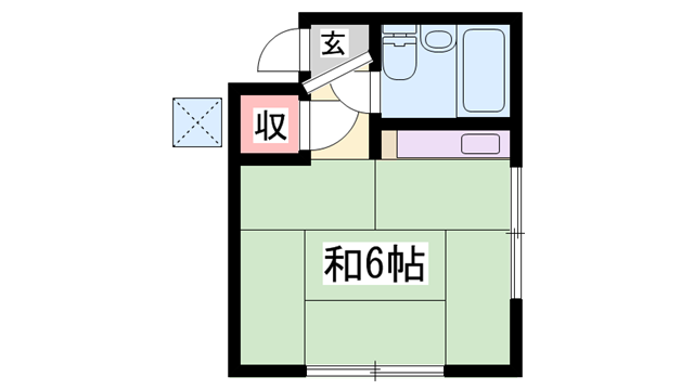 物件番号: 1119480973  姫路市飾磨区英賀春日町2丁目 1R ハイツ 間取り図