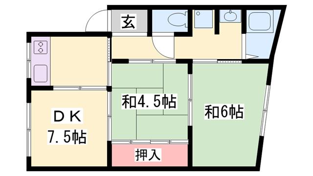 物件番号: 1119481632 中井マンション  姫路市北原 3DK マンション 間取り図