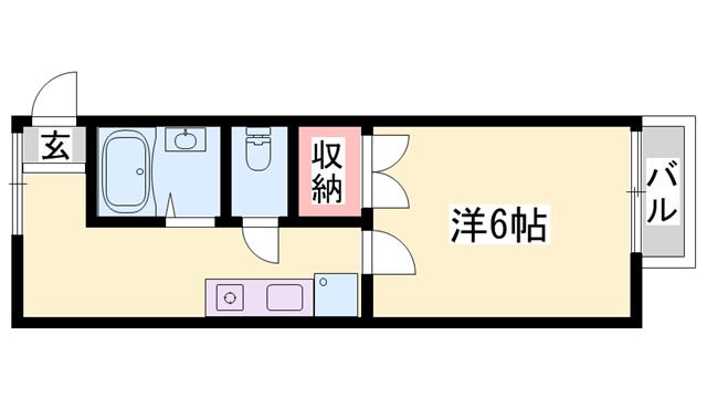 物件番号: 1119481647  たつの市揖保川町神戸北山 1K ハイツ 間取り図