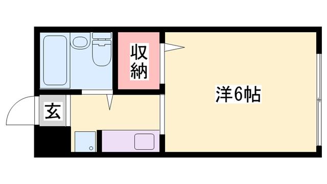 物件番号: 1119482249  姫路市書写 1K ハイツ 間取り図