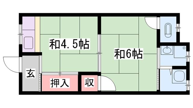 物件番号: 1119482263  姫路市増位本町 1DK ハイツ 間取り図