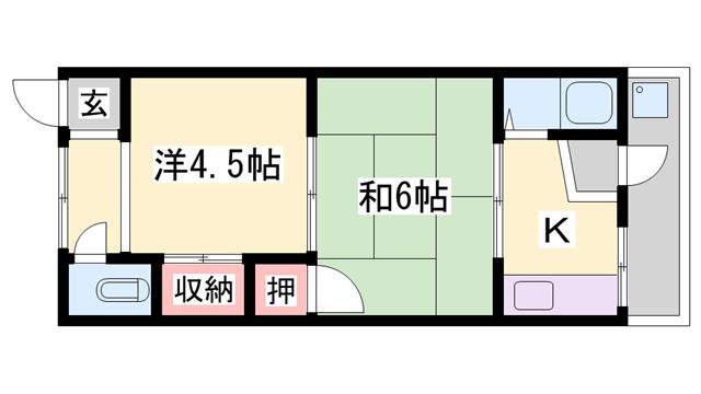 物件番号: 1119482294  加古川市野口町野口 2K ハイツ 間取り図