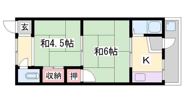 物件番号: 1119482295  加古川市野口町野口 2K ハイツ 間取り図