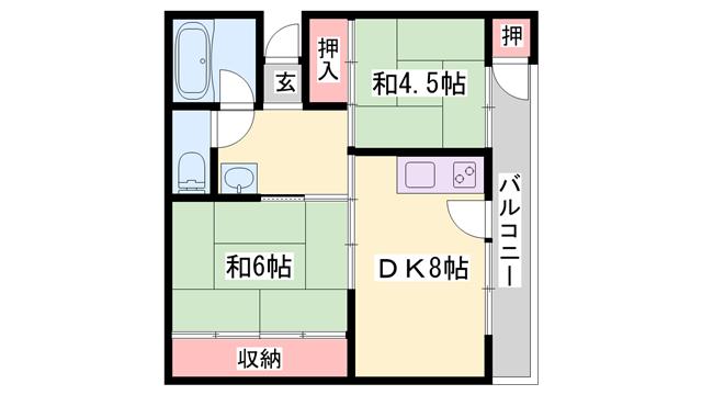物件番号: 1119482464  加古川市別府町新野辺 2DK マンション 間取り図