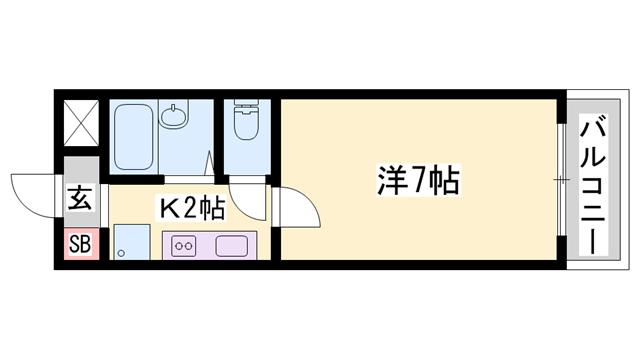 物件番号: 1119482615  姫路市伊伝居 1K ハイツ 間取り図