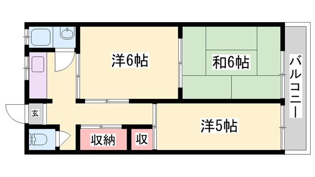 物件番号: 1119482716  姫路市大津区平松 3K アパート 間取り図