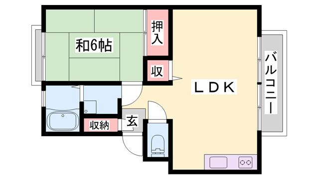 物件番号: 1119482733  姫路市広畑区蒲田4丁目 1LDK ハイツ 間取り図