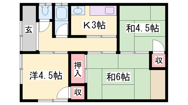 物件番号: 1119482743  姫路市網干区宮内 3K 貸家 間取り図