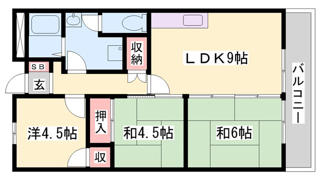 物件番号: 1119482939  姫路市飾磨区細江 3LDK マンション 間取り図