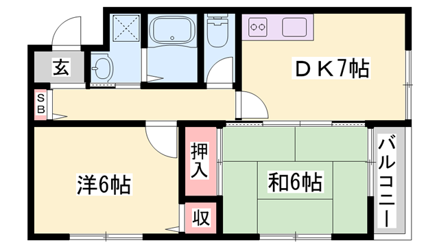 物件番号: 1119483013  加古川市平岡町土山 2DK アパート 間取り図