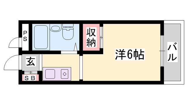 物件番号: 1119483032  神崎郡福崎町福田 1R マンション 間取り図