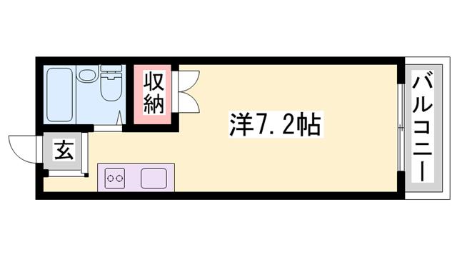 物件番号: 1119483034  姫路市野里慶雲寺前町 1R ハイツ 間取り図