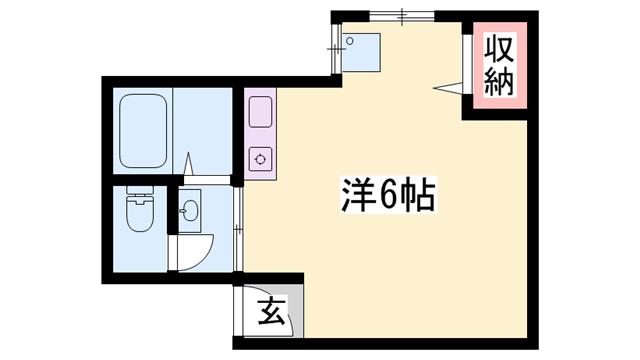 物件番号: 1119483049  姫路市亀井町 1R マンション 間取り図